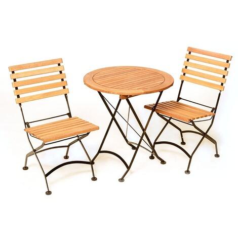 merxx gartenm bel set 3tlg aus flachstahl und fsc holz. Black Bedroom Furniture Sets. Home Design Ideas