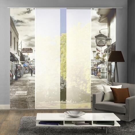 komplett fenster schiebevorhang ballroom 4 er set 245x60 cm schwarz wei online kaufen die. Black Bedroom Furniture Sets. Home Design Ideas