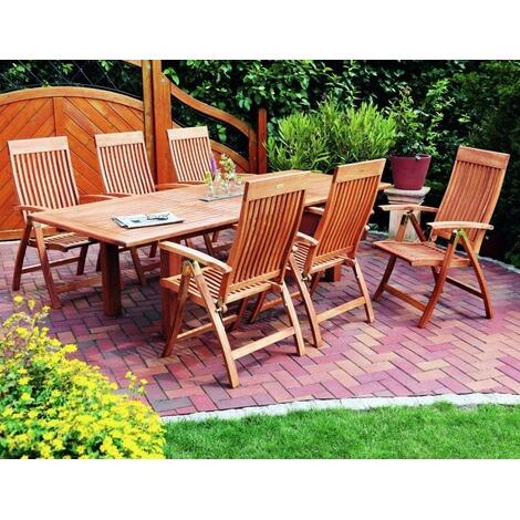 MERXX Gartenmöbel-Set aus Holz, 6 Klappsessel und ...