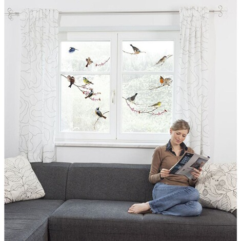 Fenster-Sticker Birds, 31 x 31 cm / 2 Bögen 2