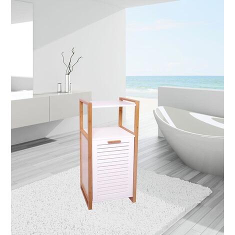 badregal mit w schekorb im landhausstil wei holz online. Black Bedroom Furniture Sets. Home Design Ideas