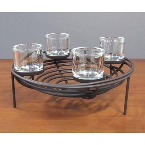 dekorativer schalenleuchter mit 4 glas teelichthaltern. Black Bedroom Furniture Sets. Home Design Ideas