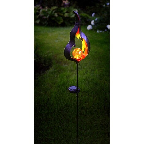 LED-Solarstab Melilla, Flamme, schwarz/orange, ca. 85x17 cm 3