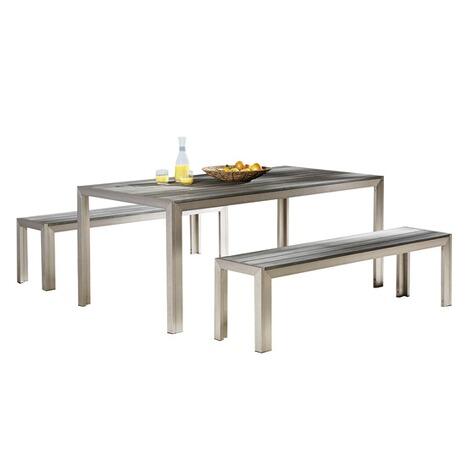 Gartenmöbel Set Aus Aluminium Und Kunststoff2 Bänke1 Tisch Online