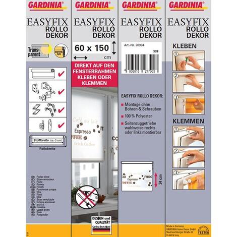 easyfix dekor rollo mit coffee schriftzug zum klemmen und. Black Bedroom Furniture Sets. Home Design Ideas