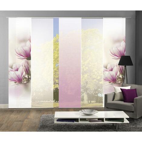 komplett fenster schiebevorhang magnone 5 er set 245x60 cm rose online kaufen die moderne. Black Bedroom Furniture Sets. Home Design Ideas