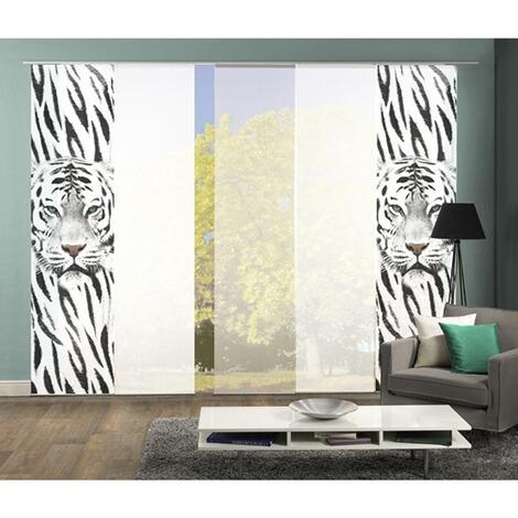 komplett fenster schiebevorhang damison 5 er set 245x60 cm schwarz wei online kaufen die. Black Bedroom Furniture Sets. Home Design Ideas