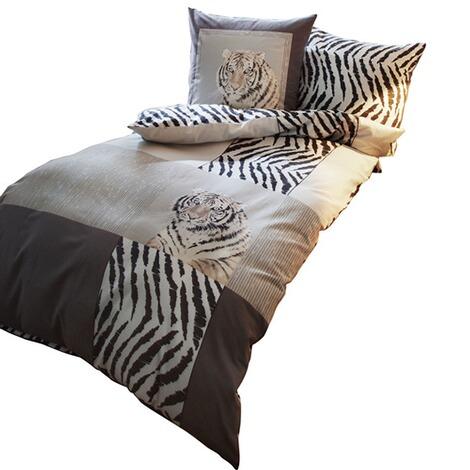 Feinbiber Bettwäsche Indian Tiger 2 Tlg Silber Online Kaufen
