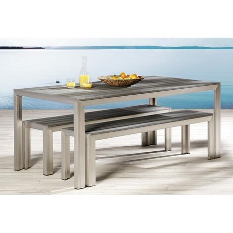 Gartenmöbel-Set aus Aluminium und Kunststoff,2 Bänke,1 Tisch online ...