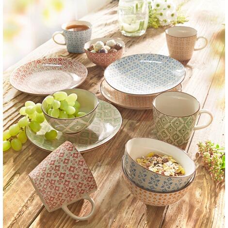 keramik teller set 4 tlg retro gemustert online kaufen die moderne hausfrau. Black Bedroom Furniture Sets. Home Design Ideas