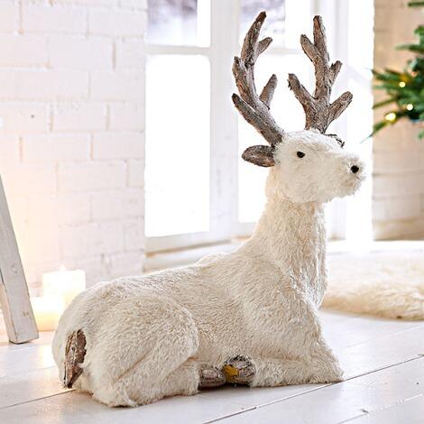 deko figur wei er hirsch altwei online kaufen die moderne hausfrau. Black Bedroom Furniture Sets. Home Design Ideas