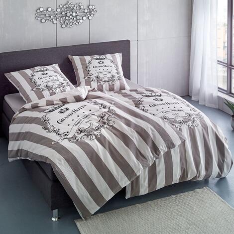bettw sche grand hotel classic grau wei 135 x 200 cm. Black Bedroom Furniture Sets. Home Design Ideas