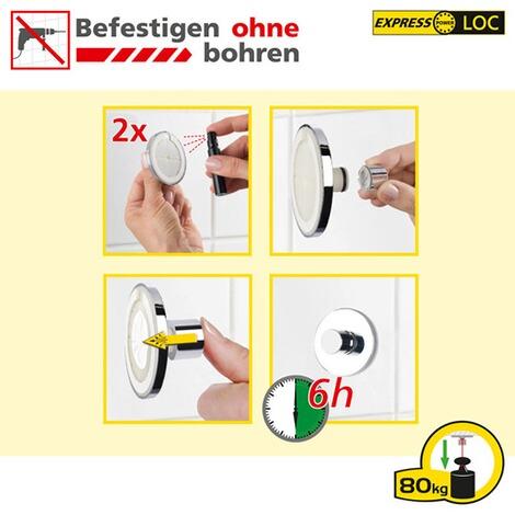 Wenko Express-Loc Toilettenpapierhalter  Edelstahl Befestigen ohne bohren