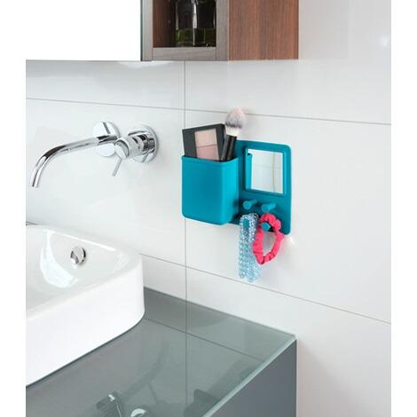 wenko organizer mit spiegel und haken ampio petrol silikon online kaufen die moderne hausfrau. Black Bedroom Furniture Sets. Home Design Ideas