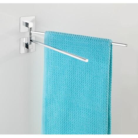 wenko turbo loc edelstahl handtuchhalter 2 arme quadro rostfrei befestigen ohne bohren online. Black Bedroom Furniture Sets. Home Design Ideas