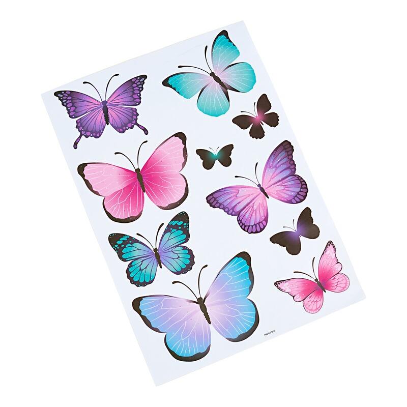24 autocollants stickers pvc papillons